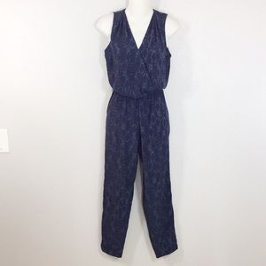 Banana Republic blue gray snake print jumpsuit